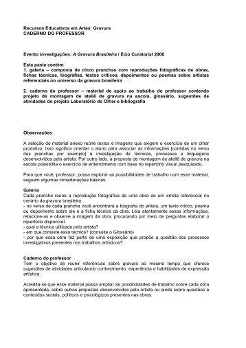 Recursos Educativos em Artes: Gravura CADERNO ... - Itaú Cultural