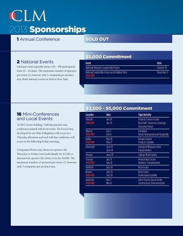 2013 Event and Mini Conference Sponsorship Opportunities