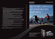 Up to £60 cashback on a Handycam® from Sony* - Wex Photographic