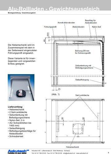 Montageanleitung Gewichtsausgleich - Ackutech AG