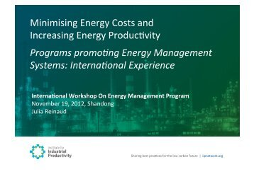 Minimising Energy Costs and Increasing Energy Productivity