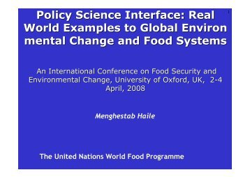 Policy Science Interface - Global Environmental Change and Food ...