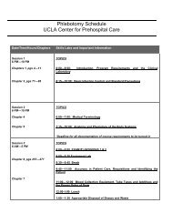 Phlebotomy Schedule - UCLA Center for Prehospital Care