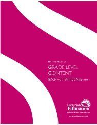 Grade Level Content Expectations - State of Michigan