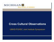 Cross Cultural Observations - UMHS/PUHSC - Joint Institute for ...