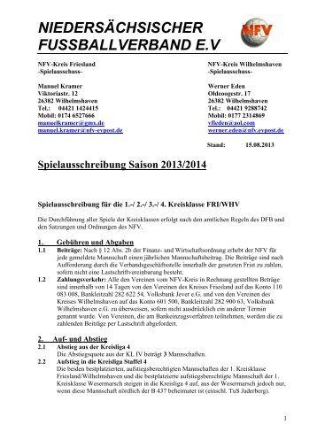 Ausschreibung 1. - 3. Kreisklasse FRI/WHV, Senioren - Heidmuehler ...