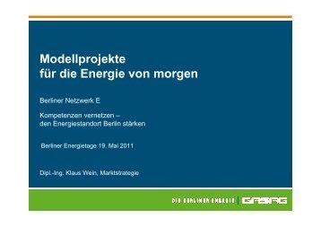 Modellprojekte für die Energie von morgen - Berliner NetzwerkE