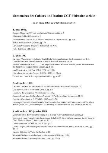 Sommaires des Cahiers de l'Institut CGT d'histoire sociale