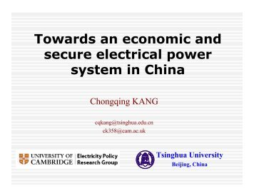 Towards an economic and secure electrical power system in China
