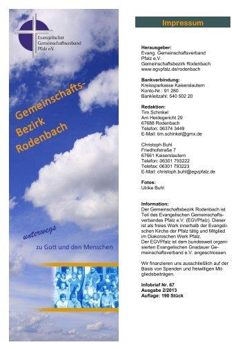 Infobrief II / 2013 - Evangelischer Gemeinschaftsverband Pfalz e.V.