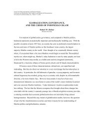 globalization, governance, and the crisis of indonesian islam