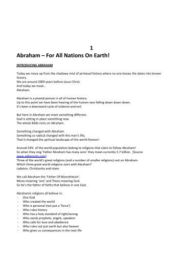 Abraham For All Nations SERMON - Gracespace.info