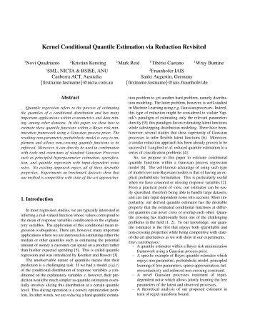 Kernel Conditional Quantile Estimation via Reduction ... - Mark Reid