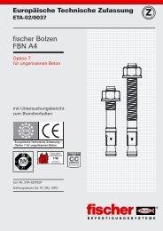Europäische Technische Zulassung ETA-02/0037 - Fischer