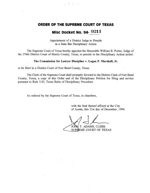Disciplinary Appeal Appointment - Marshall - Supreme Court