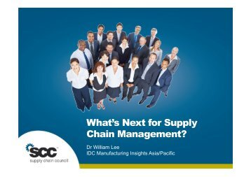 IDC Manufacturing Insights, provides - Supply Chain Council