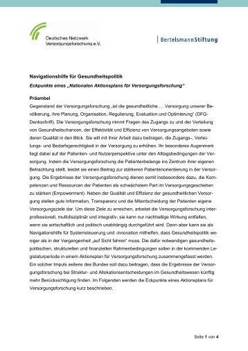 Nationalen Aktionsplans zur Versorgungsforschung - Faktencheck ...