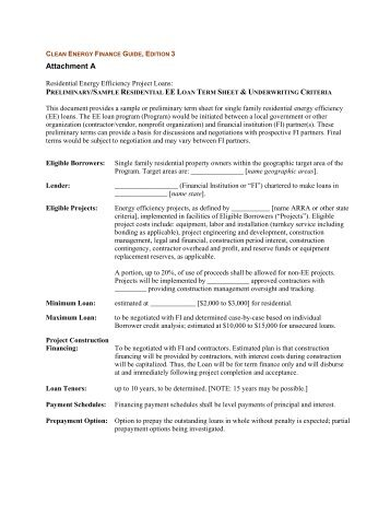 Sample Residential Program Term Sheet