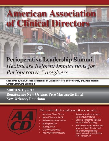 AACD Perioperative Leadership Summit - Association of Anesthesia ...