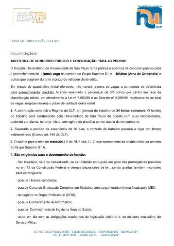 HOSPITAL UNIVERSITÁRIO DA USP Edital HU 24/2013 ...