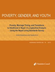 Poverty, marriage timing, and transitions to adulthood in Nepal: A ...