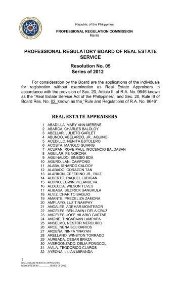 PRBRES Resolution No. 5 Series of 2012 - ForeclosurePhilippines ...