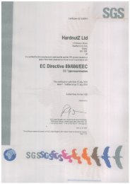 Certificate for HardnutZ model number HN 103 Cycle