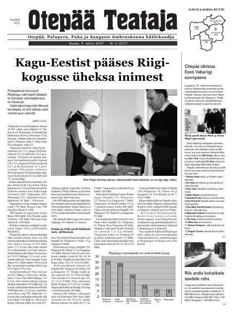 4b9db23672b Kagu-Eestist pääses Riigi- kogusse üheksa inimest - Otepää vald