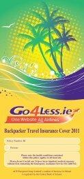 Backpacker Travel Insurance cover 2011 - Blue Insurances