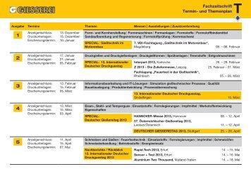 Termin- und Themenplan 2013 - Giesserei