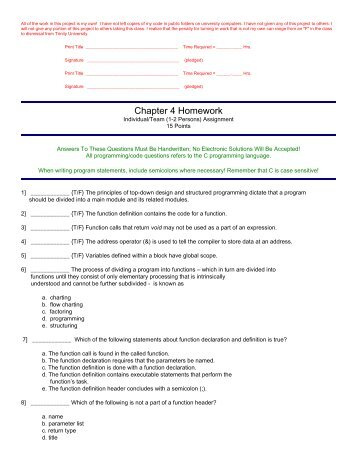 Chapter 4 Homework - Trinity University
