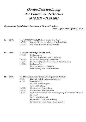 Gottesdienstordnung der Pfarrei St. Nikolaus - Katholische ...