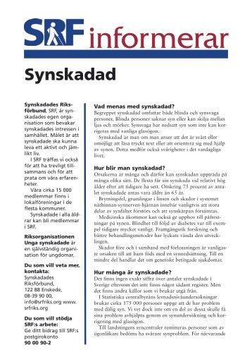 """""""Synskadad"""" [pdf] - Synskadades Riksförbund"""