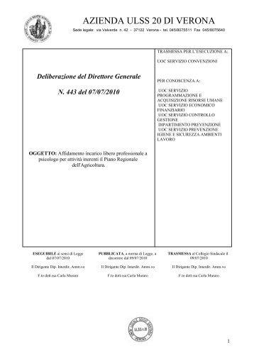 Deliberazione del Direttore Generale N. 443 del ... - ULSS 20 Verona
