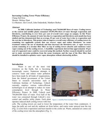 Increasing Cooling Tower Water Efficiency ... - Sustainability at Caltech