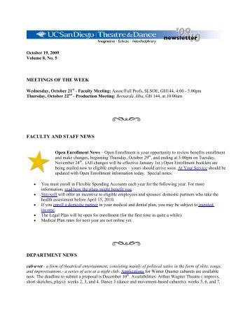 Vol. 8, No. 5 October 19, 2009 (PDF) - UCSD Theatre & Dance