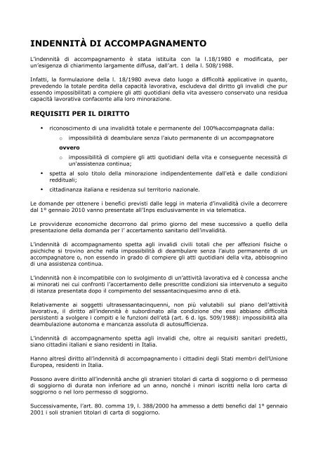 INDENNITÀ DI ACCOMPAGNAMENTO - ANGSA Lombardia ONLUS