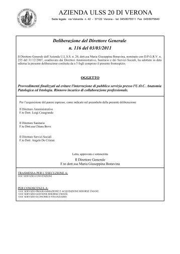 Deliberazione del Direttore Generale n. 116 del ... - ULSS 20 Verona