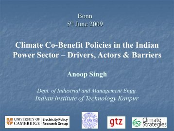 Climate Co-Benefit Policies in the Indian Power Sector – Drivers ...