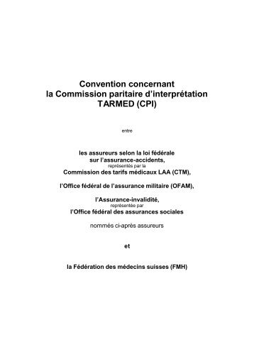 Convention concernant la Commission paritaire d'interprétation ...