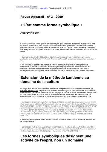 « L'art comme forme symbolique » Extension de ... - Revues en ligne