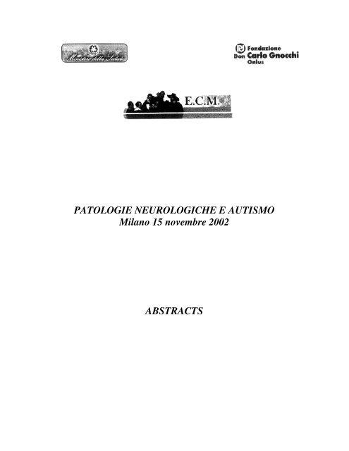 ABSTRACTS del Convegno su Patologie Neurologiche e Autismo