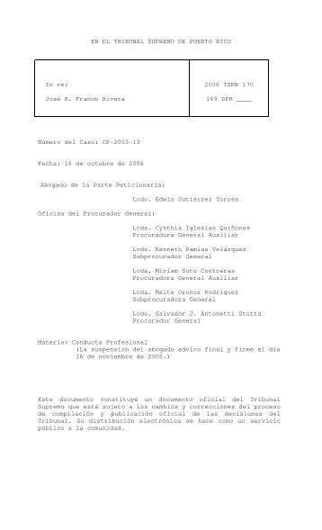 2006 TSPR 170 - Rama Judicial de Puerto Rico