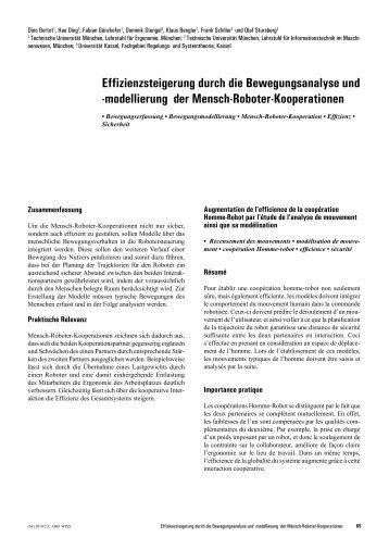 Effizienzsteigerung durch die Bewegungsanalyse und ...