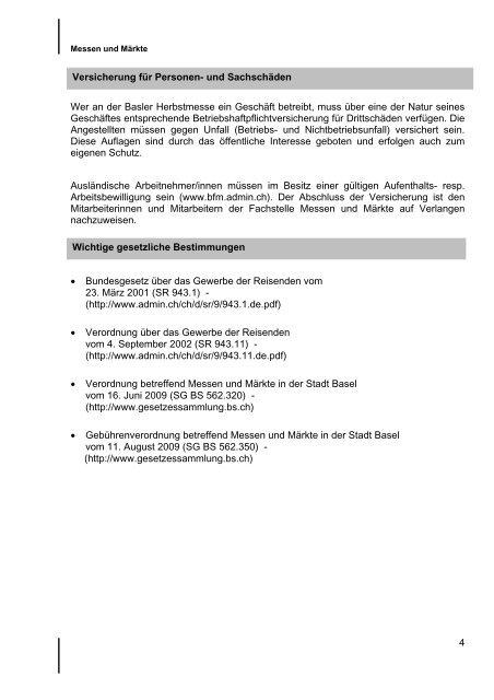 Aussenbeziehungen und Standortmarketing - Messen & Märkte