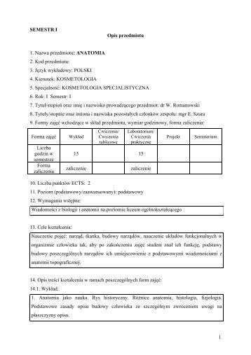 opisy przedmiotów - Państwowa Wyższa Szkoła Zawodowa w Nysie