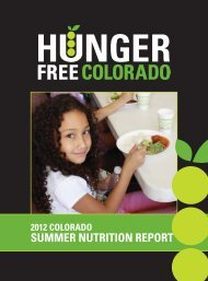 SUMMER NUTRITION REPORT - Hunger Free Colorado
