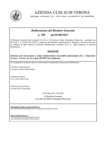 Deliberazione del Direttore Generale n. 396 del ... - ULSS 20 Verona