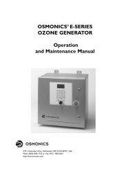 OSMONICS® E-SERIES OZONE GENERATOR Operation and ...