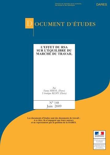 DOCUMENT D'ÉTUDES - Ministère du Travail, de l'Emploi, de la ...